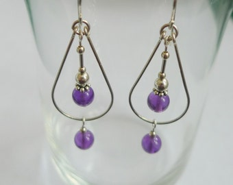 Sterlling Silver Amethyst Teardrop Earrings
