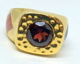 Vintage Garnet Ring - Gold Over Sterling - Poker Player's Ring - Gambler's Ring - Brutalist Ring - Gold Garnet Ring - 6.5 - Free Shipping