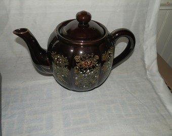 Vintage, Japan, Lusterware, Glazed,Hand Painted, Gold Leaf, 4 Cup, Teapot