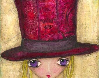 ART PRINT - MILLY  Mixed Media Whimsical Art Girl with Big Hat Print A4 size Free local Postage