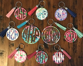 Lilly Pulitzer Inspired Monogrammed Acrylic Key Chains