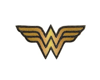 Wonder Woman Iron On Applique, Wonder Woman Patch, Genuine DC Comics Iron On Patch, Superhero Applique, Embroidered Patch, Kids Patch, 1.5x3