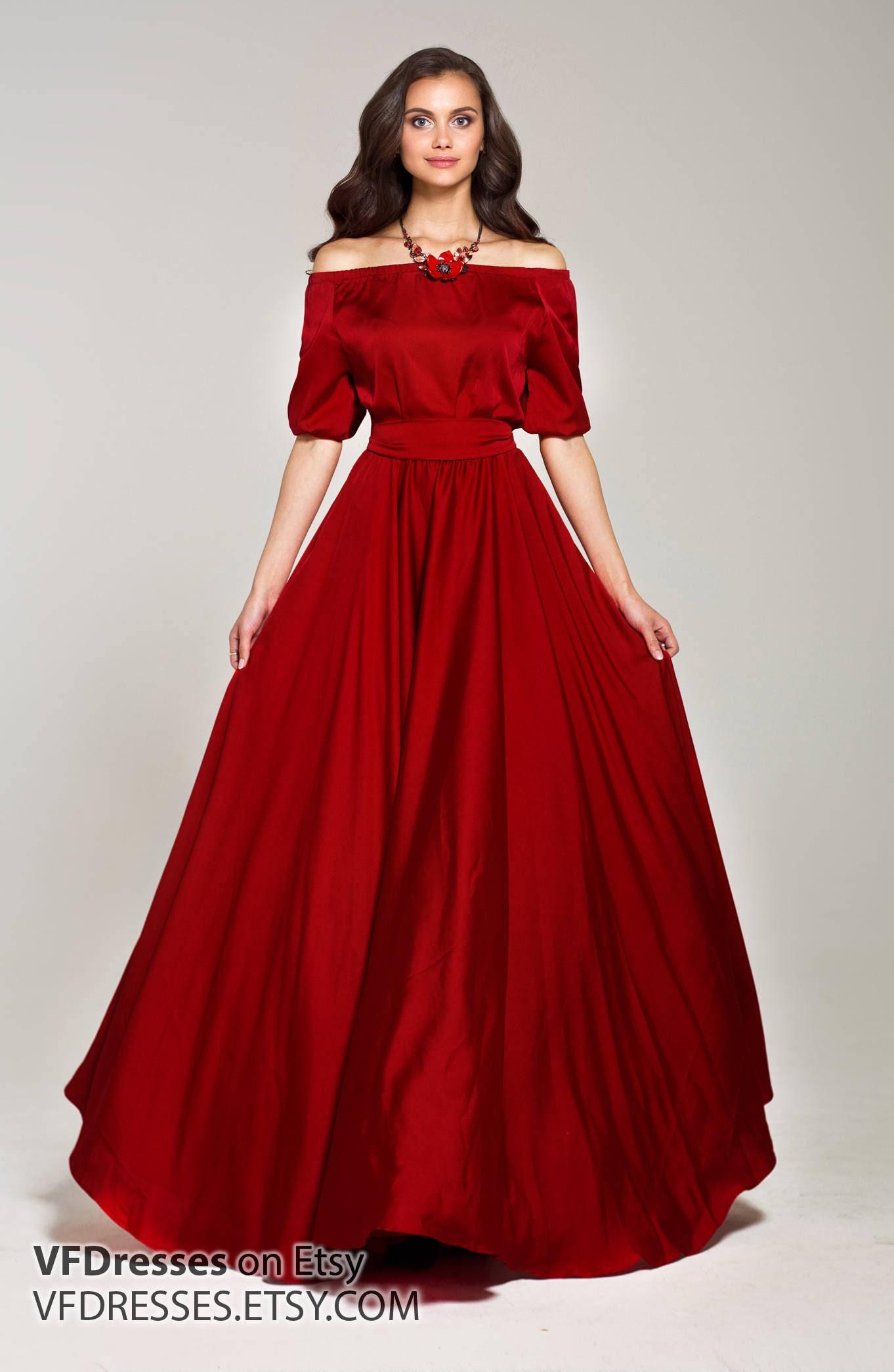 Marsala Kleid Seidenkleid Maxi Kleid elegantes Kleid in