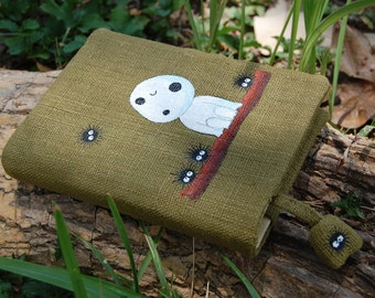 "Notebook with Princess Mononoke ""Kodama"" Hand Painted on green cotton Cover A6 (U.S. only)"