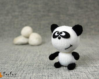 Stuffed panda, panda bear, knitted panda, plush panda, hand knit toy, stuffed animal, softie panda - Lee the Panda
