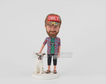 Custom boyfriend with his dog bobblehead- Boyfriend Gift, Personalized Boyfriend Gift, boyfriend gift ideas, Anniversary Gift for Boyfriend