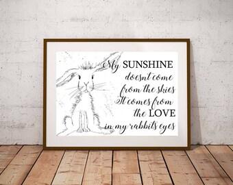 Giclee print, Inspirational quote PRINT, rabbit print, rabbit art, watercolour painting, rabbit lover gift, watercolour animal print