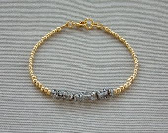 Gold and Silver Beaded Bracelet, Seed Bead Bracelet, Beaded Bar Bracelet