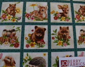 Baby Animal Squares from the Forest Babies Collection by Oasis Fabrics. JoBerry Fabrics, Fabric by the Yard.