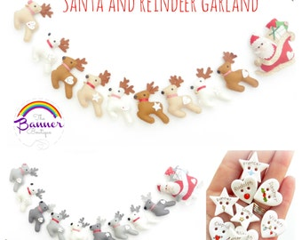 Santa and reindeer garland