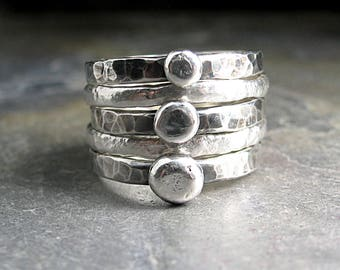 stacking pebble rings rustic stackable rings nature jewelry cairn rings metalsmith - Pebble Road Rustic Stack of Five