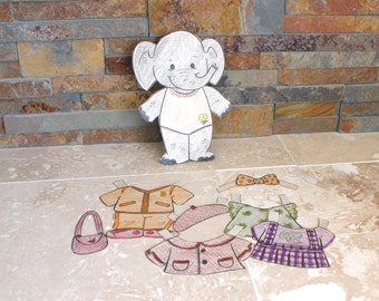 Elephant paper doll, coloring book paper doll, paper ephemera, scrapbook supplies, paper doll, scrapbooking
