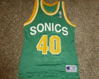 Vtg Shawn Kemp Seattle Supersonics Sonics NBA Champion Jersey Sz Men's 36 S