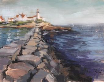 Eastern Point Lighthouse MA - Plein Air Oil Painting by Jennifer Brandon