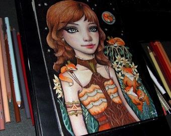 Sleeping Fox Garden - original pen and ink illustration by Tanya Bond