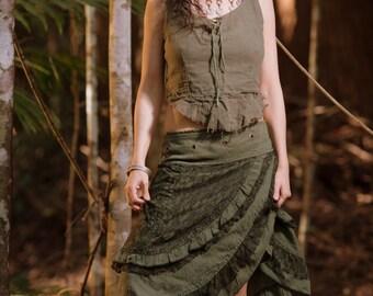 Petite Gypsy Wrap Skirt (Dark Green) - Festival Clothing Boho Tribal Fairy Festival Layer Crochet Wrap Around Skirt Bohemian