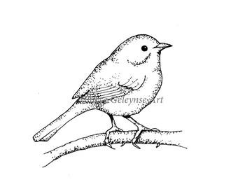 Digital Stamp, Little Bird Outline Art, Commercial Use, Freehand Outline Art, Wildlifel, Instant Download