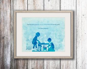 Montessori Quote, Child's Potential, Montessori Print, Teacher Gift, Teacher Appreciation, Teacher Quote, Montessori Child, Maria Montessori