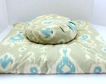 Meditation Cushion Set, Buckwheat Zafu & Cotton Zabuton - Ocean Ikat