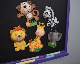 Magnetic Chalkboard WITH Foam Safari Animal Magnets