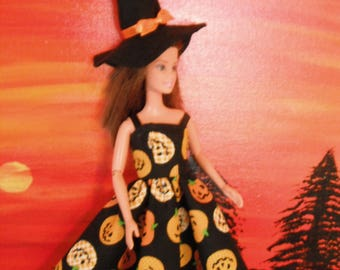 Barbie Doll Halloween Dress / Costume / Witch Hat / Pumpkins / Holidays / Doll Clothes