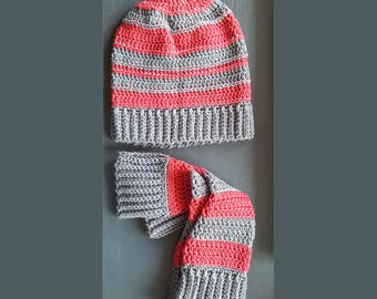 Hat and Arm Warmers - Orange and Gray