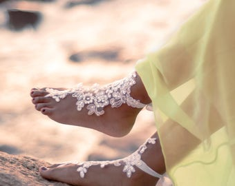 Bridal Barefoot Sandals, Beach Wedding Foot Jewelry, Boho Wedding Shoes