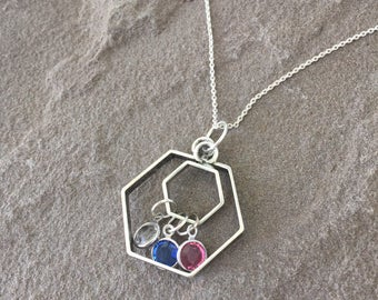 Hexagon silver plated necklace with up to 8 birthdtones