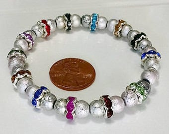 Silver and Multicolor Memory Bracelet