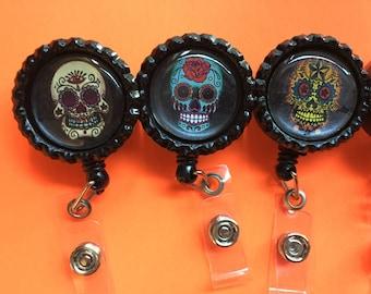 Sugar Skull Retractable ID Badge Holder Various