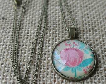 Pink Rosette Pendant Necklace