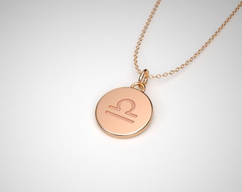 Libra Necklace - Solid Gold Tiny Libra Zodiac Charm. TINY TALISMANS™ Line of Spiritual Jewelry.  14k, 18k Solid Gold & Platinum