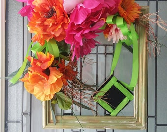 Wreath, Square Wreath, Rectangle Wreath, Wreaths, Frame, Picture Frame, Tropical, Bright, Cheerful, Birthday Gift, Gift, Housewarming,