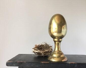 Brass Egg Finial, Cosmic Egg, Vintage Metal Egg, Egg on Pedestal, Egg Sculpture Figurine, Large Decorative Egg, Egg With Base, Art Object