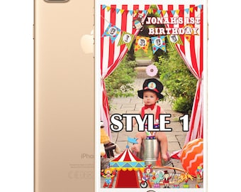 Carnival or Circus Theme SnapChat Filter 10 different styles for Birthdays, Baby Shower and Parties
