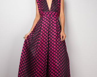 Summer Maxi Dress  - Funky Polka Dot Dress : Oriental Secrets Collection
