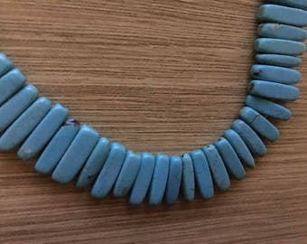 set of 40 beads 15 mm natural turquoise chips