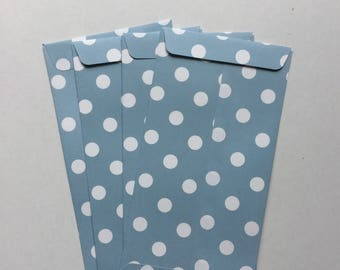 Set of 4 gift bags paper blue envelopes with polka dots, fancy packaging