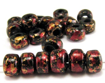 Black with Red and Gold 9mm Crow Beads 50pc #3481