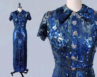 RARE!! 1930s Dress / INCREDIBLE 30s Entirely SEQUINED Gown / Blue Evening Gown / Breast Pocket / Collar / Novelty Leaf Buttons!