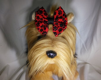 Red & Black Paw Print Dog Hair Bow