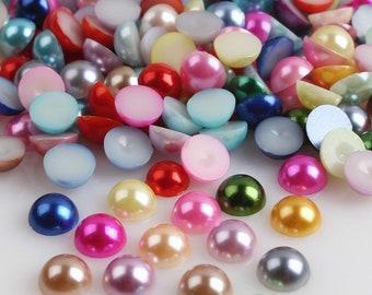 8mm Half Pearls,  Mixed Flatbacks, Mixed Half Pearls, Pearl Cabochon, 8mm Pastel Half Pearls, Craft Half Pearls, Large Half Pearls,