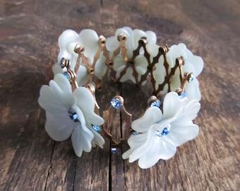 Vintage Expandable Bun Holder Blue Rhinestone Flowers