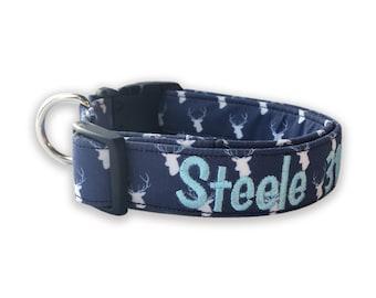 Deer Head Dog Collar, Embroidered Dog Collar, Buck Dog Collar, Personalized Dog Collar, Boy Dog Collar, Personalized Collar