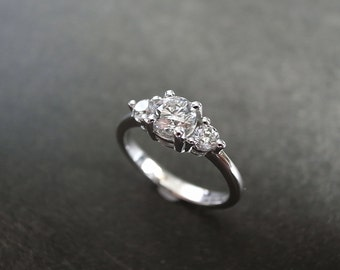 Three Stone Engagement Ring in 14K White Gold, Three Stone Ring, Three Stone Diamond Ring, Diamond Ring, Unique Engagement Ring, Women Ring