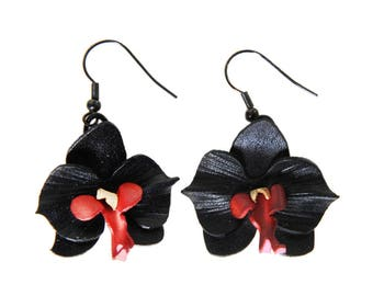 Flowers Orchid leather earrings
