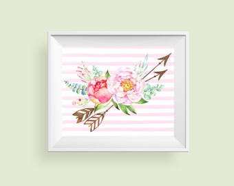 Pink Flower Print, Girls Boho Nursery Art, Arrow Wall Decor, Pink Floral Tribal Printable Art 10x8 Instant Download