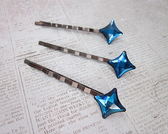 Bermuda Blue Hair Pin, Star Hair Pin, Blue Hair Pin, Hair Stars, Swarovski Hair Pin, Sparkling Bobby Pin, Starlet Hair Pin, Blue Accessory