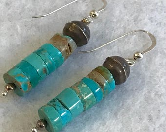 Vintage Turquoise Heishi Earrings Sterling Bench Beads Hand Rolled