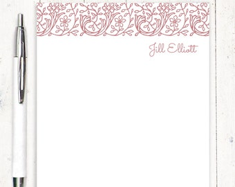 personalized notePAD - STENCIL FLOWER VINES - stationery - stationary - feminine notepad - letter writing paper - choose color